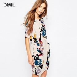 ORMELL New Fashion Ladies' Elegant Geometry Print Dress Vintage O Neck Short Sleeve Casual Slim Brand Dress