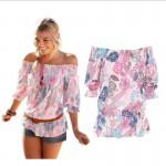 Off Shoulder Chiffon Shirts Women Summer Print T-shirt Elastic Waist Half Sleeve Loose Beach Fashion Tee Printing Cool Top Femme