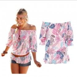 Off Shoulder Chiffon Shirts Women Summer Print T-shirt Elastic Waist Half Sleeve Loose Beach Fashion Tee Printing Cool Top Femme