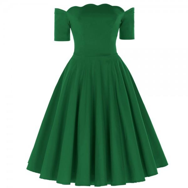 Off Shoulder Short Sleeve 2017 50s Vintage Rockabilly Dresses Green Red Black Swing Dress Robe Femme Pinup Dresses Vestidos