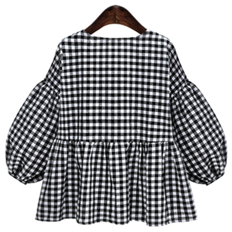 0a4928bd3a4 Oladivi 2018 Black White Plaid Blouse Women Shirt Tops Blouses Blusas  Femininas Ladies Tunic Plus Size Female Clothing ...