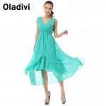 Oladivi Brand Women Clothing 2017 V Neck Cute Elegant Ladies Beach Maxi Chiffon Dresses Long Summer Sundresses Green Dress S XL