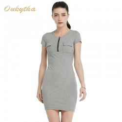 Oukytha 2017 Summer Leisure Women Self-cultivation O-Neck dress Short Sleeves  Soild Zipper Pockets  Pack hip dress   M15029