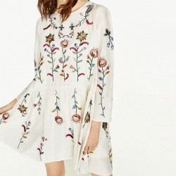 PLus Size Women Floral Embroidery Dress O Neck Long Sleeve 2pcs Cotton Casual Party Summer Dresses White Vestidos 2017  BBWM7113