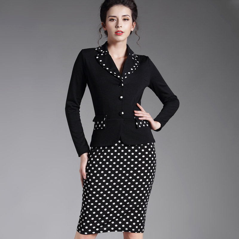 Patchwork Plaid Long Sleeve Workwear Business Office Dress Outfit