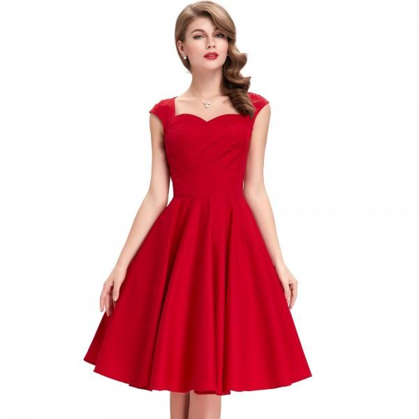 Pink Green Red Black Rockabilly Dresses 50s 2017 Audrey Hepburn Vestidos Plus Size Women Summer Retro Casual Robe Vintage Dress
