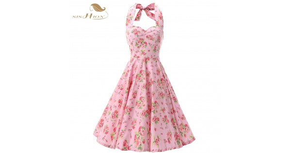 f8a83ebad3a Pink Women Dress Rockabilly Floral Print Retro Vintage 60s Sexy Party Dress  Pinup Swing Hepburn Summer Dress Plus Size VD0240