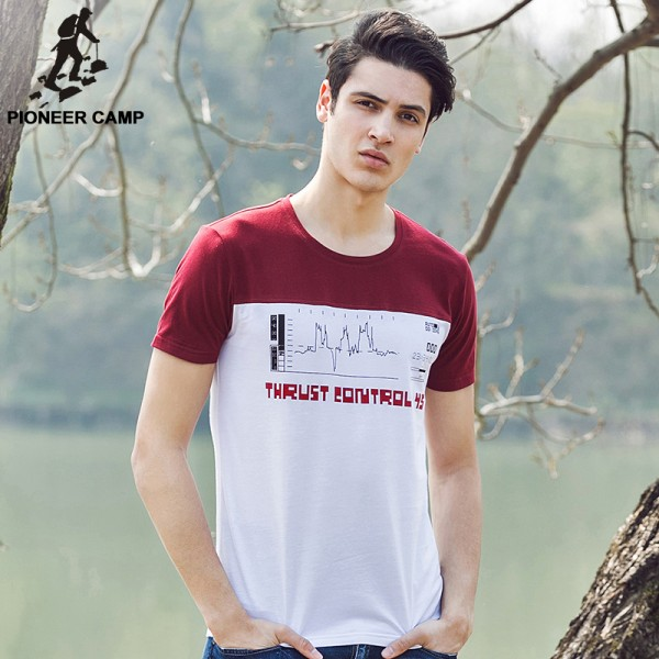 Pioneer Camp 100% cotton male t-shirt youth hit color short sleeve T-shirt mens t shirts fashion 2017 print t shirt 677001