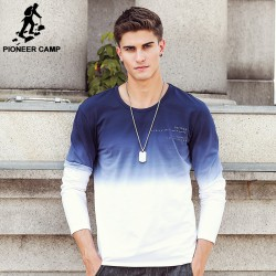 Pioneer Camp 2017 New Arrive Mens T Shirts Fashion O-Neck casual Long Sleeve T-Shirt Gradient band Clothing T Shirt Homme 611907