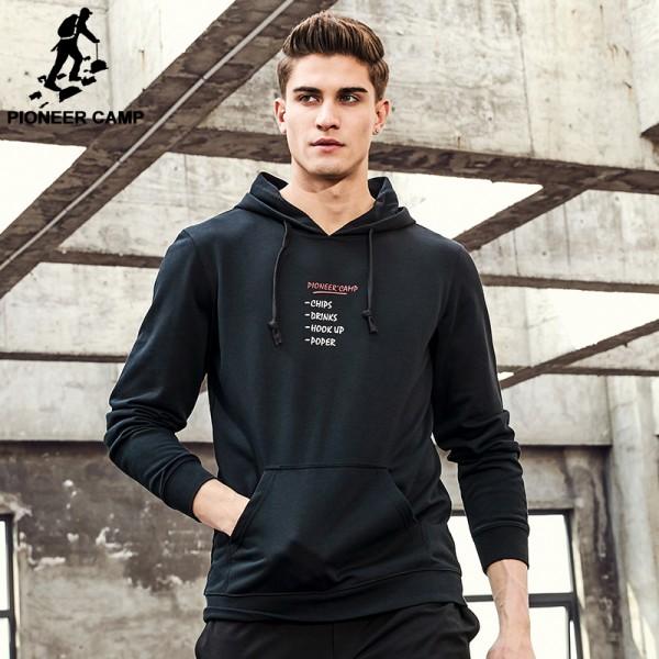 Pioneer Camp 2017 New Spring hoodie sweatshirt men brand clothing printed fashion hoodies male top quality black red AWY702002