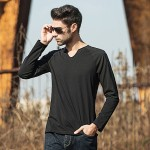 Pioneer Camp 2017 autumn new fashion mens t shirt long sleeve slim brand clothing v-neck eladtic tshirt personality solid 620013