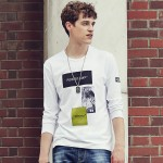 Pioneer Camp 2017 new Brand clothing long sleeve t shirt men top quality Spandex crewneck t shirts male print t shirt 622100