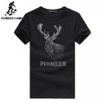 Pioneer Camp 2017 new fashion men t shirt cotton male t-shirt brand short men summer tshirt 3d elk printed t shirt men 677050