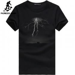 Pioneer Camp Lightning Printed T-Shirt Men Black T Shirt Mens Fashion men T Shirts Casual brand Clothing Cotton 3D Tshirt 405043