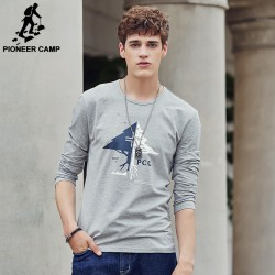 Pioneer Camp Long Sleeve T-shirt men Environmental Friendly Print T Shirt male Casual fashion Tshirt Brand-Clothing 699007