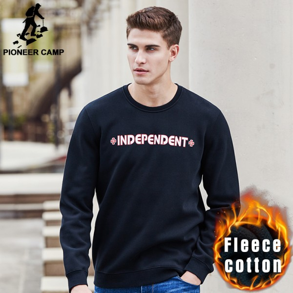Pioneer Camp New casual autumn winter sweatshirts men brand clothing thicken warm hoodies male top quality with fleece 677212