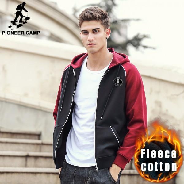 Pioneer Camp Spring winter hoodie sweatshirt men new arrival brand clothing male zipper thick fleece sweatshirts fashion  622168