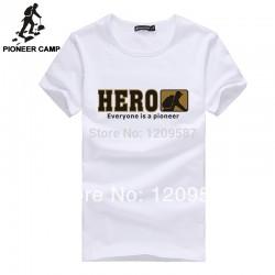 Pioneer Camp men t shirt new 2017 cotton simple print pattern casual Tshirt plus size fashion design brand clothing Male T-shirt