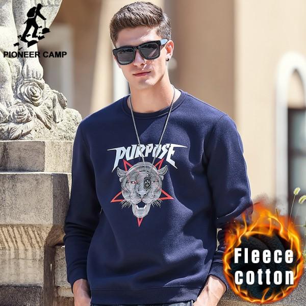 Pioneer Camp men thick fleece hoodies Spring Winter 100% cotton brand clothing High quality warm male Casual Sweatshirt 699066