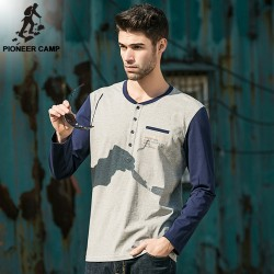 Pioneer Camp.Free shipping2016 new fashion mens t shirt o-neck long sleeve casual  elastic male tshirts  cotton t-shirt