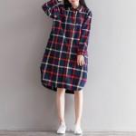 Plaid Shirt Dress Spring Autumn 2017 Loose Preppy Long Sleeve Single-breasted Cotton Bottom Dress Mori Girl Vestidos