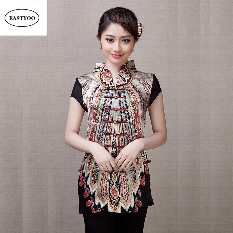 12bca7ecf496c ... Plus Size 5XL Chinese Blouse Women Summer Silk Shirt Short Sleeve