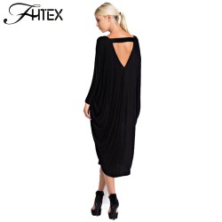 Plus Size Autumn Dress Fashion New Women Solid Color V Neck Batwing Sleeve Backless Casual Loose Party Dress Evening Midi Dress