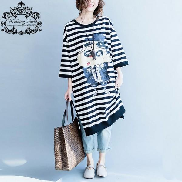 Plus Size Autumn Women Cotton Dress Kawaii Casual Cartoon Pattern Striped Printing Long Fashion Big Size Spring Lady Dresses