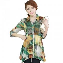 Plus Size Clothing Big Yard Spring Medium-Long Irregular Sweep Chiffon Shirt, Plus Sizes Blouse Blusas Femininas Blusas