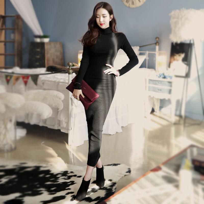Plus Size Long Sleeve Slim Elegant Warm Knit Skinny Bodycon Maxi ...