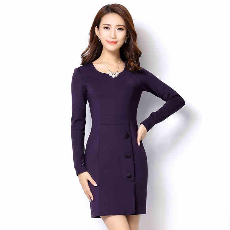 Plus Size New Autumn Women Dress Slim Full Sleeve Ol Commuter Accept