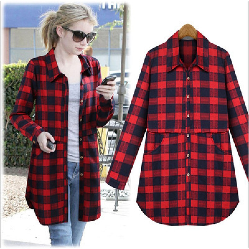 7bbc7db5b21d9 Plus Size Plaid Shirt Women 2018 Female New Fashion Long Sleeve Shirt Women  Casual Cotton Blouses ...