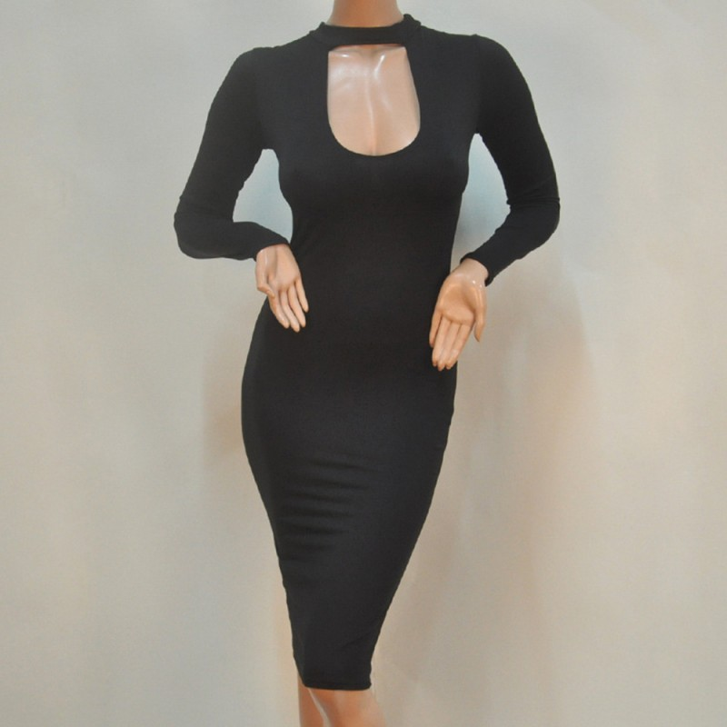 Plus Size Women Clothing Black Long Sleeve Bodycon Dress ...