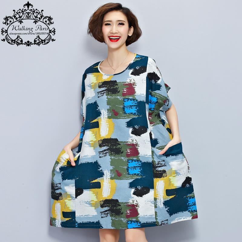 Plus Size Women Linen T Shirt Summer Dress Chinese Style Pattern