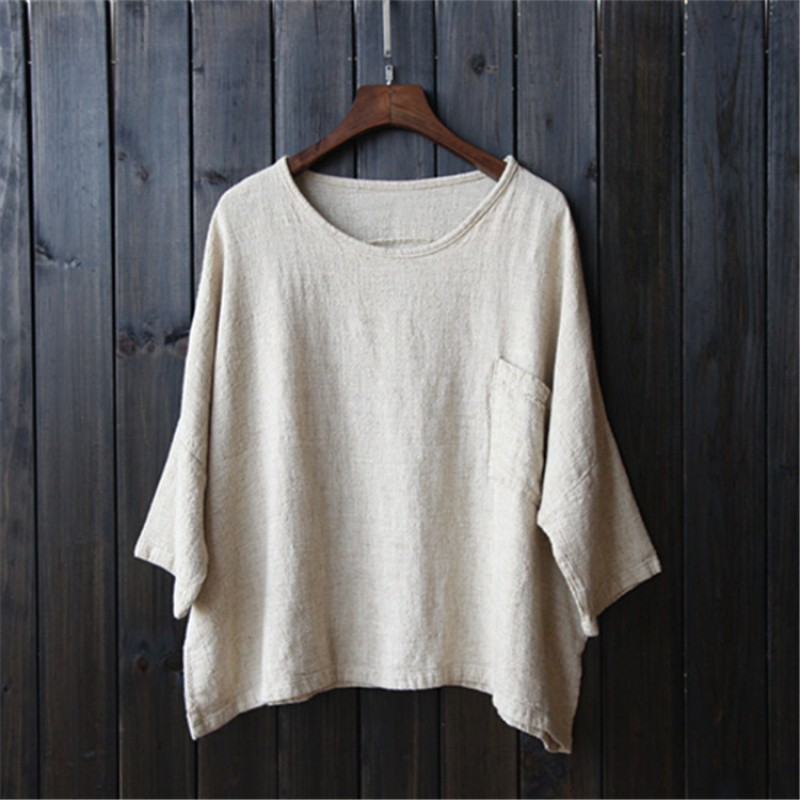 Plus Size White Linen Women Blouses Shirt Solid O Neck Loose Casual