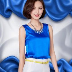 Plus size Women Blouse Sleeveless Summer Tops Blusas 2016 Solid color all-match Silk Vest shirt Plus size Casual Chiffon shirt