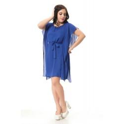 Plus size casual dress with sashes decoration Sexy asymmetrical chiffon dress women Blue party dress summer 3xl -7xl 1088