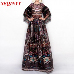 Print Long Dress Embroidery 2017 Spring Europe New Fashion High Quality Retro Half Sleeve Floor-Length XXL Ball Gown Women Dress