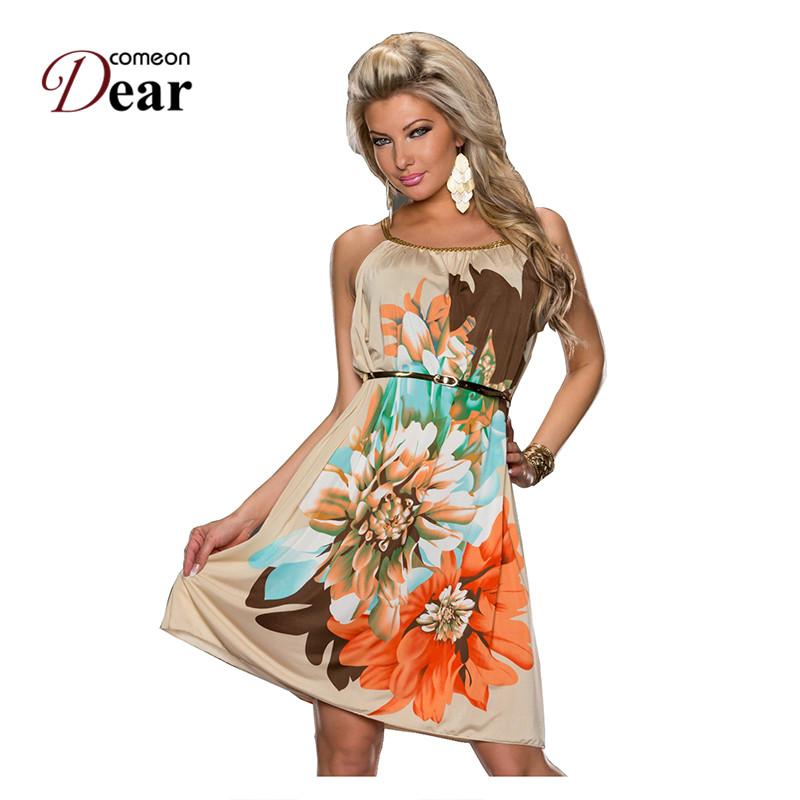 RJ7971 Comeondear Best Sale Women Dress Flower Print Beach Dress ...