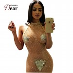 RJ80244 Comeondear Transparent Lace Sexy Dress Club Wear See Through Plus Size Sexy Bodycon Dress Skin Color Night Women Dress