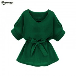 ROMWE Women Blouses 2017 Clothes Casual Women Tops and Blouses Ladies Green V Neck Half Sleeve Self Tie Slim Blouse