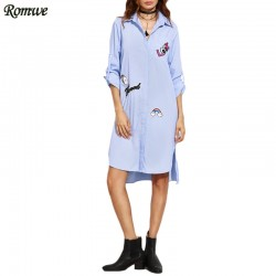 ROMWE Womens Casual High Low Dresses Ladies Blue Striped Long Sleeve Lapel Hidden Button Shirt Dress With Lovely Patch