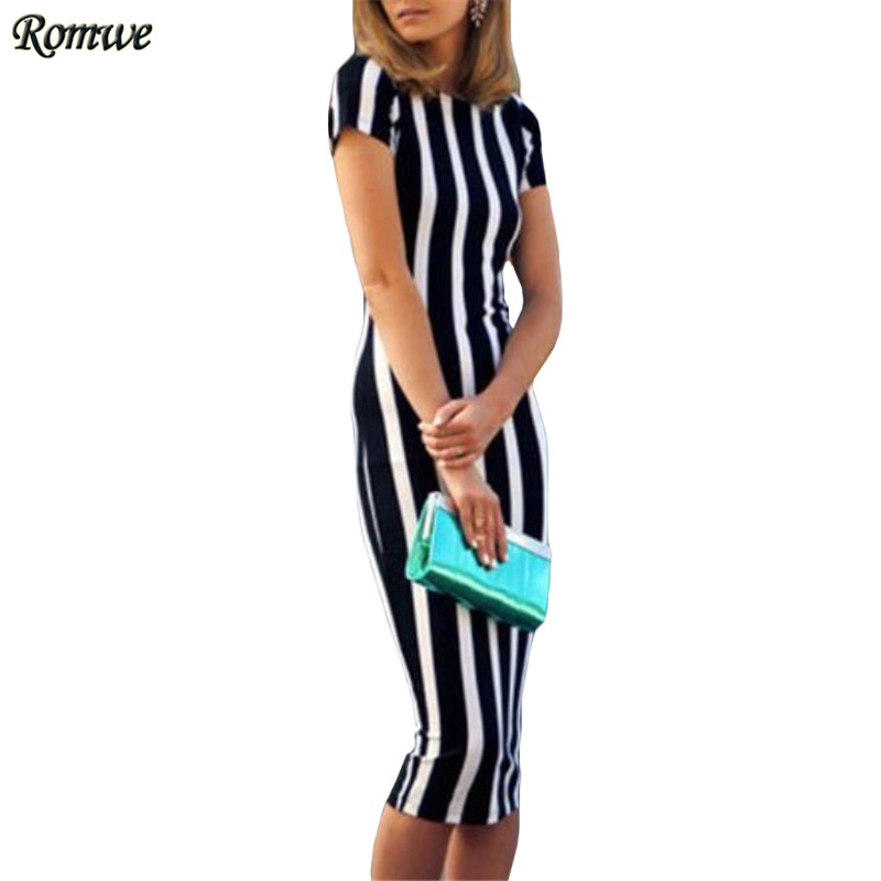 6989fcc0f03 ROMWE Womens Vertical Striped Long Sheath Dresses Ladies Summer Casual  Short Sleeve Round Neck Knee Length Dress