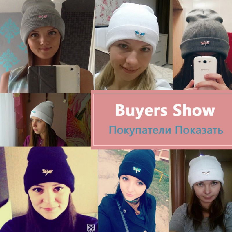 5414d4d66db Ralferty Dragonfly Crystal Beanie Hat For Women Hip Hop Cute Winter Hats  Caps Female Skullies bonnet ...