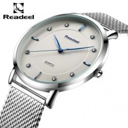 Readeel Brand Men's watches dress Ultra-thin quartz watch men steel mesh strap quartz-watch ul clock relogio masculino Relojes