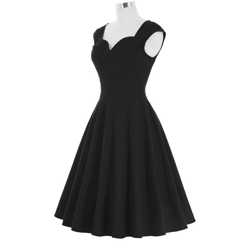 8b09fd1344b8c Red Green Black Women Dress Sexy Short Evening Party 50s 60s Vintage ...