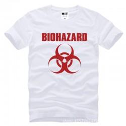 Resident Evil Biohazard Logo Printed Mens Men T Shirt Tshirt Fashion 2015 New Short Sleeve Cotton T-shirt Tee Camisetas Hombre