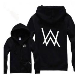 Rock Star Alan Walker Letter Printed Hoodies Autumn&Winter 2017 Hiphop Fleece Warm Zip Jackets Free Shipping