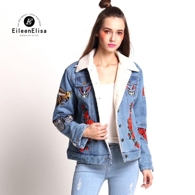 Runway Coat Embroidery Denim Jacket Women For Winter 2017 Luxury
