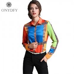 Runway European Style Long Sleeve Shirt Women Tops And Blouses 2017 New FashionGeometric Print Blouse Ladies Office Shirts